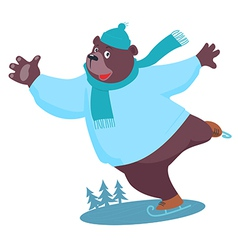 Cartoon Bear ice skating vector image