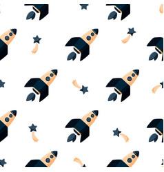 Cartoon rocket ship seamless pattern simple kids vector