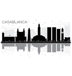 casablanca morocco city skyline black and white vector image