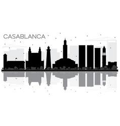 Casablanca morocco city skyline black and white vector