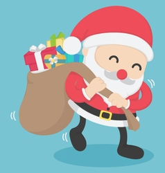 Christmas Santa Claus carrying big bag full vector