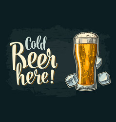 Cold beer here calligraphy lettering vintage vector