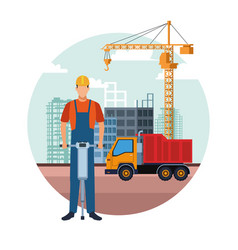 Construction builder cartoon vector