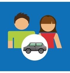 Couple with car sedan design vector