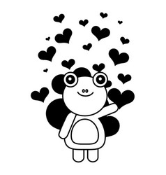 cute frog hearts valentines day vector image