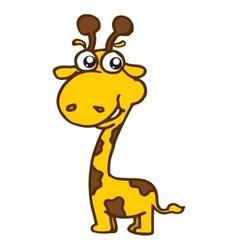 Cute giraffe cartoon t-shirt design vector