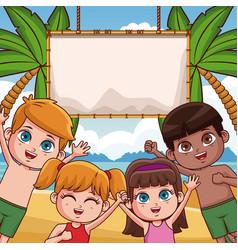 cute kids at beach vector image