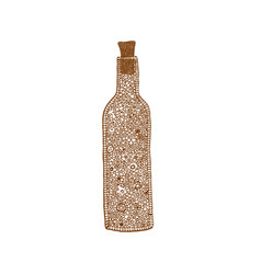 decorative isolated brown bottle in zentangle vector image