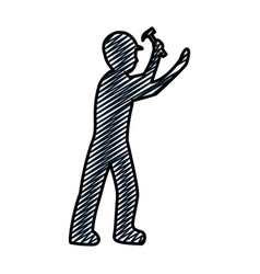 Doodle pictograph laborer with hammer equipment vector