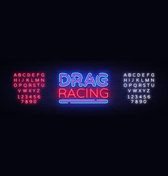 Drag racing neon sign racing design vector