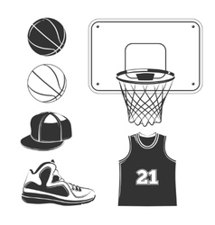 Elements icons for basketball club labels vector