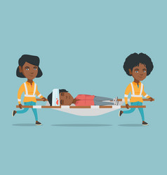 Emergency doctors carrying woman on stretcher vector