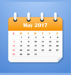 European calendar for may 2017 vector