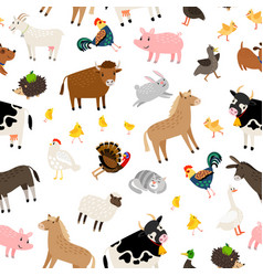farm animals pattern vector image