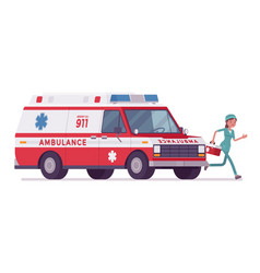 Female nurse at ambulance car vector