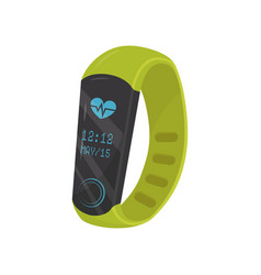 Flat icon of bright green fitness bracelet vector