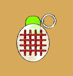 Flat shading style icon military frag grenade vector