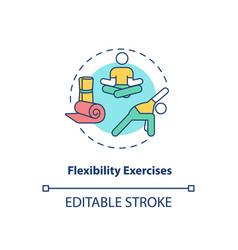 Flexibility exercises concept icon vector
