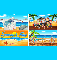 Four background scenes with summer theme vector