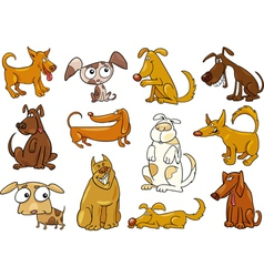 Funny dogs set vector