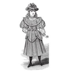 Girls summer dress late 19th century design vector