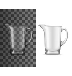 glass jug realistic mockup empty pitcher vector image