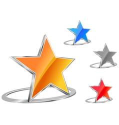 glossy star emblem vector image