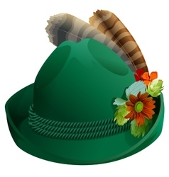 Green hat with feathers for Oktoberfest vector