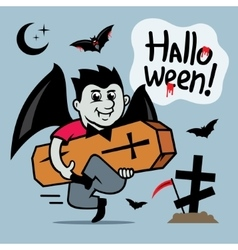 Halloween Vampire with coffin Cartoon vector image