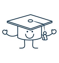 happy graduation cap icon vector image