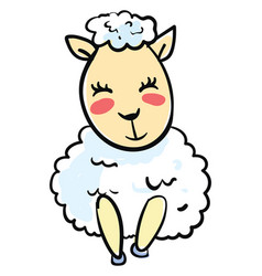 happy little sheep on white background vector image