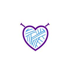 heart of yarn wool logo logotype for learning vector image