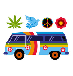 hippie van or bus isolated vehicle and subculture vector image