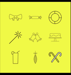 holidays linear icon set vector image