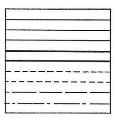 Horizontal solid and dashed line drawing exercise vector