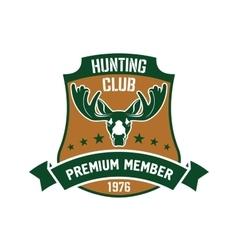 Hunting club membership badge with mature elk vector image