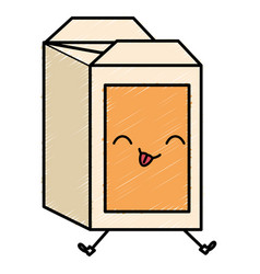 Juice carton box kawaii character vector