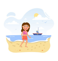Little cute girl at beach looking at paw vector