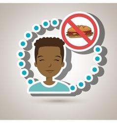 Man cartoon fast food prohibited vector