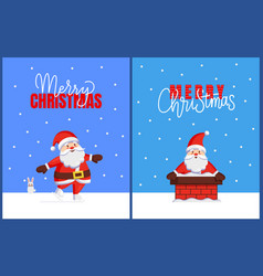 merry christmas cards with santa look from chimney vector image