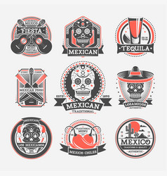 Mexican vintage isolated label set vector