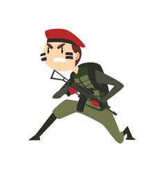 Military man with gun warlike soldier character vector