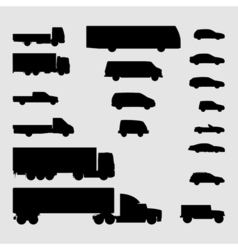 Monochrome vehicle icons vector image