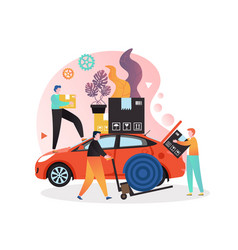 Moving services concept for web banner vector