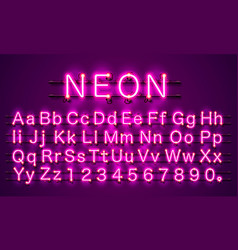 neon font city color purple alphabet font vector image