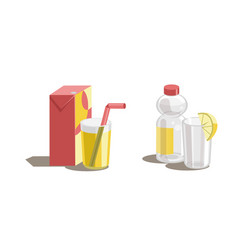 orange juice in glass arton box and plastic vector image