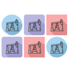 outlined icon of oil derrick with parallel and vector image