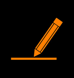 pencil sign orange icon on black vector image