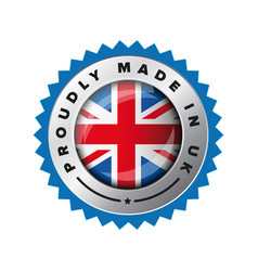 proudly made in uk flag button badge vector image