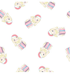 rabbits wearing santas hats cute seamless pattern vector image